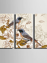 cheap -Stretched Canvas Print Canvas Set Animals Romance Botanical Three Panels Vertical Print Wall Decor Home Decoration