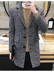 cheap -Men's Chinoiserie Long Coat - Polka Dot, Retro Shirt Collar / Long Sleeve