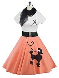 abordables -Rétro Elégant Années 50 Costume Fille Robes Bal Masqué Costume de Soirée Violet Jaune Cyan Bleu Rose Vintage Cosplay Coton Manches Courtes