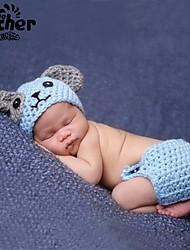 Baby Unisex Tøjsæt Daglig Ensfarvet,Bambus Fiber Alle årstider Uden ærmer Simple Blå