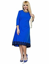 cheap -Women's Plus Size Going out Butterfly Sleeves Bodycon Dress - Solid Colored Mesh / Fall