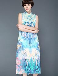 abordables -Mujer Corte Ancho Vestido Casual/Diario Tejido Oriental,Floral Escote Chino Midi Sin Mangas Seda Verano Tiro Medio Rígido Opaco Fino