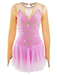 abordables -Robe de Patinage Artistique Femme Fille Patinage Robes Rose + Rouge Spandex Strass Haute élasticité Utilisation Tenue de Patinage Fait à