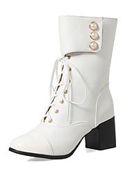 baratos -Mulheres Sapatos Courino Inverno Outono Botas da Moda Curta/Ankle Botas Salto Robusto Ponta Redonda Botas Curtas / Ankle Botas Cano Médio