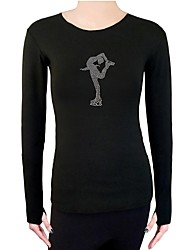 cheap -Figure Skating Top Women's / Girls' Ice Skating Top Black Spandex Stretchy Performance / Practise Skating Wear Solid Colored Long Sleeve
