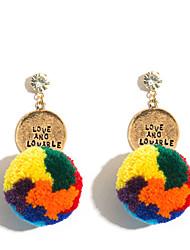 Недорогие -Жен. Серьги-слезки Цветной Мода европейский Мех Сплав Шарообразные Бижутерия Для вечеринок Бижутерия