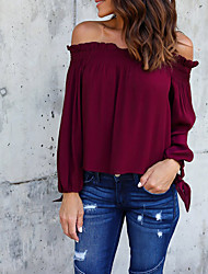 preiswerte -Damen Solide Street Schick Festtage Lässig/Alltäglich T-shirt,Bateau Ganzjährig Langärmelige Polyester