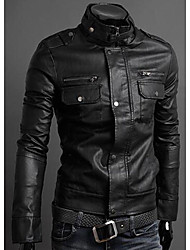 Veste de cuir Homme,Couleur Pleine Sortie simple Hiver Automne Manches longues Mao Normal Simili Cuir énorme