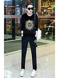 Women's Sports Simple Fall Hoodie Pant Suits,Print Round Neck Long Sleeve Polyester Stretchy