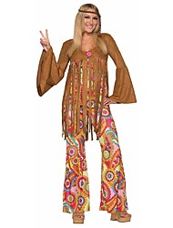 cheap -Vintage / Hippie / 1970s Costume Women's Party Costume Coffee Vintage Cosplay Polyester Long Sleeve Bell Sleeve Briefs / Lolita Halloween Costumes / Floral