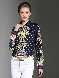 cheap -SHE IN SUN Women's Daily Work Casual Chinoiserie Fall Shirt,Print Shirt Collar Long Sleeve Polyester Opaque