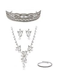 baratos -Mulheres Gema Imitações de Diamante Borboleta Conjunto de jóias Jóias para o Corpo / 1 Colar / Brincos - Fashion / Europeu Branco Tiaras