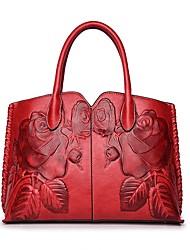 cheap -Women Bags PU Shoulder Bag Pattern / Print Ruffles Zipper for Casual Office & Career All Season Brown Red Green