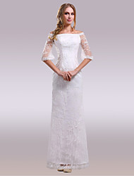 cheap -Sheath / Column Off-the-shoulder Floor Length Lace Satin Wedding Dress with Lace by Nameilisha