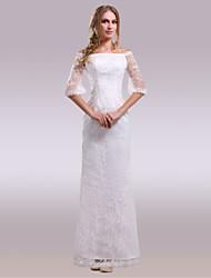 Tubinho Longo Renda Cetim Vestido de casamento com Renda de Nameilisha