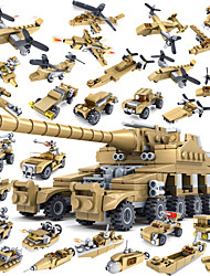 Building Blocks Tank Plane Helicopter Toys Tank Warship Car Cannon Military War 16 in 1 Boys Adults' 544 Pieces