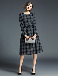 Women's Daily Going out Vintage Street chic A Line Sheath Dress,Print Round Neck Knee-length Long Sleeve Cotton Polyester Winter Fall