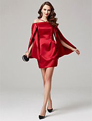cheap -Sheath / Column Off-the-shoulder Short / Mini Satin Cocktail Party Dress with Side Draping Pleats by TS Couture®