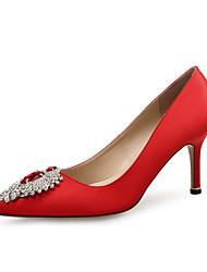 レディース 靴 スパークリンググリッター シルク グリッター 春 秋 コンフォートシューズ ヒール スティレットヒール ポインテッドトゥ ラインストーン のために 結婚式 パーティー ブラック レッド ブルー