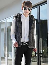 メンズ お出かけ カジュアル/普段着 冬 秋 ベスト,ストリートファッション フード付き ソリッド レギュラー フェイクファー ノースリーブ