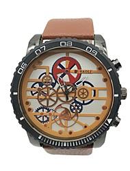 baratos -JUBAOLI Homens Quartzo Relógio de Pulso Chinês Mostrador Grande Lega Couro Banda Vintage Relógio Criativo Único Legal Laranja