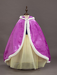 cheap -Princess Fairytale Anna Cloak Kid's Christmas Masquerade Birthday Festival / Holiday Halloween Costumes Purple Red Color Block Cover Up
