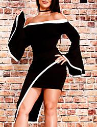 preiswerte -Damen Retro Freizeit Aufflackern-Hülsen- Bodycon Hülle Kleid Einfarbig Asymmetrisch Schulterfrei
