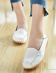 cheap -Women's Shoes PU Spring Comfort Flats Flat Heel Closed Toe for Casual White Black Yellow Blue