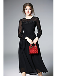 cheap -Women's Holiday Going out Vintage Casual Sexy A Line Little Black Swing Dress,Solid Round Neck Midi Long Sleeve Polyester All Season High