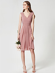 cheap -A-Line V Neck Knee Length Chiffon Bridesmaid Dress with Side Draping / Criss Cross / Ruched by LAN TING BRIDE®