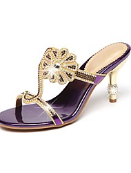 cheap -Women's Shoes Leather Spring / Summer Comfort / Novelty / Slingback Sandals Stiletto Heel Open Toe Rhinestone / Crystal Gold / Black /