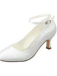 abordables -Femme Chaussures Satin Elastique Printemps / Automne Escarpin Basique Chaussures de mariage Talon Aiguille Bout rond Boucle Ivoire