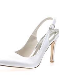 preiswerte -Damen Schuhe Satin Frühling Sommer Pumps Hochzeit Schuhe Stöckelabsatz Spitze Zehe Schnalle für Hochzeit Party & Festivität Silber Rot