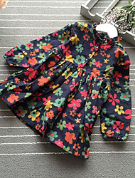 cheap -Girl's Casual/Daily Floral Dress,Cotton Winter Fall Long Sleeves Simple Navy Blue