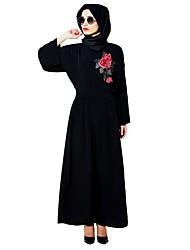 economico -Etnico/Religioso Jalabiya Abito Kaftan Abaya Abito arabo Per donna Feste / vacanze Costumi Halloween Nero Fantasia floreale Stile etnico