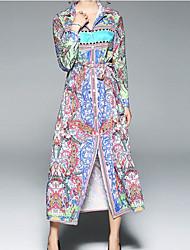 cheap -Women's Casual/Daily Sexy A Line Dress,Floral Shirt Collar Maxi Long Sleeve Polyester Fall High Waist Inelastic Opaque