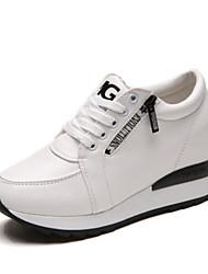 Feminino Sapatos Couro Ecológico Primavera Outono Conforto Tênis Raso Ponta Redonda para Casual Branco Preto