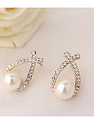 cheap -Women's Stud Earrings Sweet Lovely Imitation Pearl Alloy Drop Jewelry For Party Daily