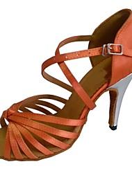 preiswerte -Damen Schuhe für den lateinamerikanischen Tanz Satin Sandalen Maßgefertigter Absatz Maßfertigung Tanzschuhe Schwarz / Mandelfarben