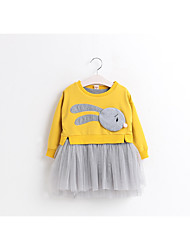 cheap -Girl's Birthday Casual/Daily Solid Dress,Cotton Polyester Spring Fall Long Sleeves Cute Cartoon Blushing Pink Yellow Light gray