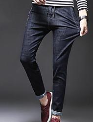 Masculino Vintage Cintura Média Micro-Elástica Chinos Calças,Sólido Outono