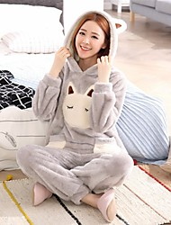 cheap -Women's Suits Nightwear,Hooded Print-Thick Cashmere Light gray