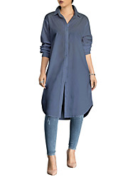 baratos -Mulheres Camisa Social - Trabalho Moda de Rua Sólido Colarinho de Camisa