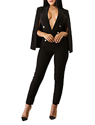cheap -Women's Going out Club Simple Sexy Solid Deep V JumpsuitsSkinny Long Sleeves Spring Fall Polyester