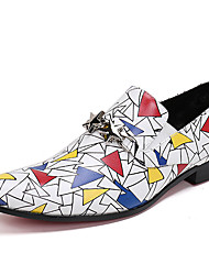 cheap -Men's Shoes Nappa Leather Spring Fall Formal Shoes Comfort Loafers & Slip-Ons for Casual Party & Evening White