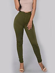 cheap -Women's Slim Pants - Solid High Rise