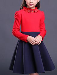 Menina de Vestido Para Noite Casual Sólido Inverno Outono Algodão Manga Longa Vintage Vermelho Vinho