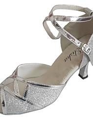 cheap -Women's Latin Shoes Glitter Sandal Indoor Customized Heel Customizable Dance Shoes Black / Silver / Bronze