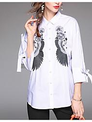 cheap -Women's Daily Casual Spring Fall Shirt,Print Shirt Collar Long Sleeve Polyester