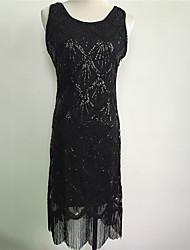 abordables -Gatsby le magnifique Rétro Années 20 Costume Femme Costume de Soirée Robe de cocktail Noir Doré Argent Vintage Cosplay Paillette Sans